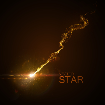 Sparkling falling star with glowing trail of particles. Vector illustration. Light element for design