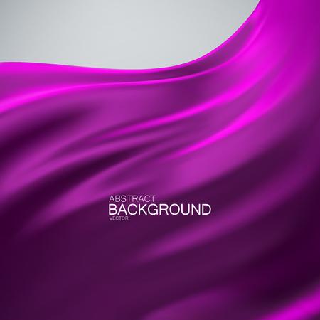 Purple silk fabric. Vector illustration of purple satin or silk fabric. Vector silk textile. Wavy cloth. Decoration element for design
