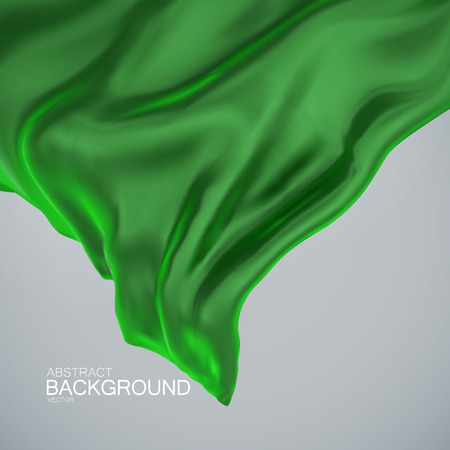 business cloth: Green silk fabric. Vector illustration of green satin or silk fabric. Vector silk textile. Wavy cloth. Decoration element for design