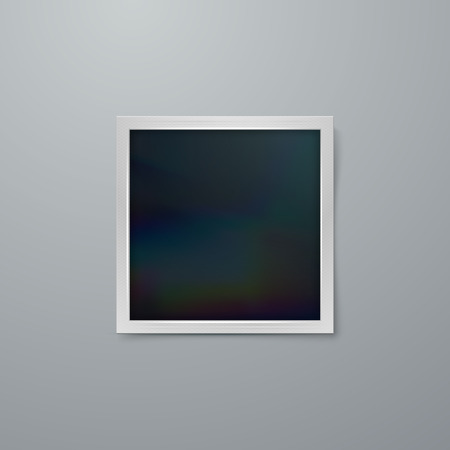 wrinkly: Instant photo frame mock-up. Vector illustration of Realistic iridescent photo frame on textured paper. Vector mock up