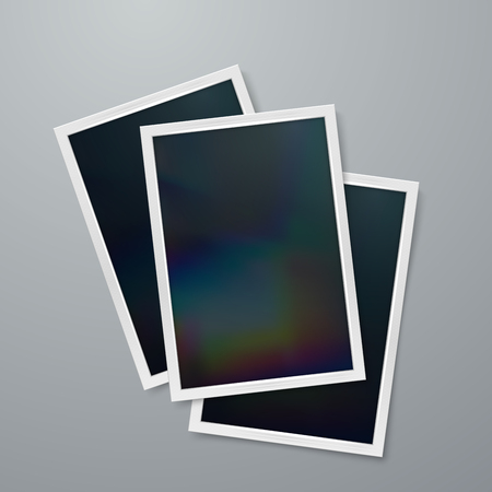 life event: Instant photo frames mock-up. Vector illustration of Realistic iridescent photo frame on textured paper. Vector mock up