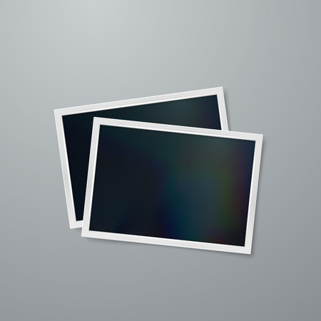 plastic backdrop: Instant photo frames mock-up. Vector illustration of Realistic iridescent photo frame on textured paper. Vector mock up