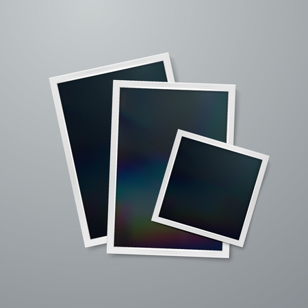 wrinkly: Photo frames mock-up. Vector illustration of Realistic iridescent photo frame on textured paper. Vector mock up Illustration