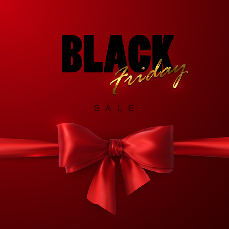 open type font: Black Friday sale banner design template. Vector illustration of Black Friday sign with red silk bow and ribbon.