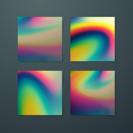 banner effect: Fluid iridescent multicolored backgrounds. Vector illustration of iridescent fluids. Poster set with holographic neon effect. Applicable for flyer, banner, poster, brochure, cover. Spectrum colors