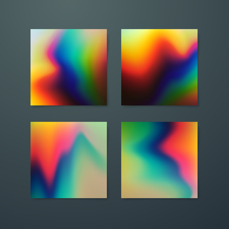 applicable: Fluid iridescent multicolored backgrounds. Vector illustration of iridescent wavy fluids. Poster set with holographic neon effect. Applicable for flyer, banner, poster, brochure, cover. Spectrum color