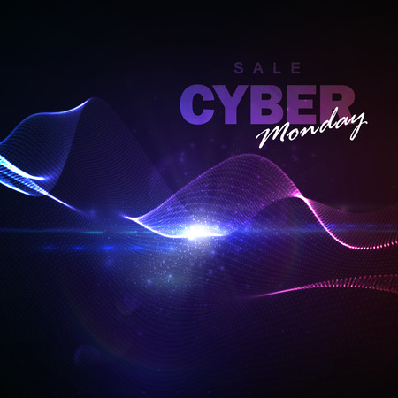 web shopping: Cyber Monday sale flyer design template. Vector illustration of neon lights Cyber Monday sign with digital illuminated wave and lens flare effect.