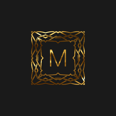 artdeco: Vector floral monogram frame. Art-deco golden frame with paint texture. Line art element for design
