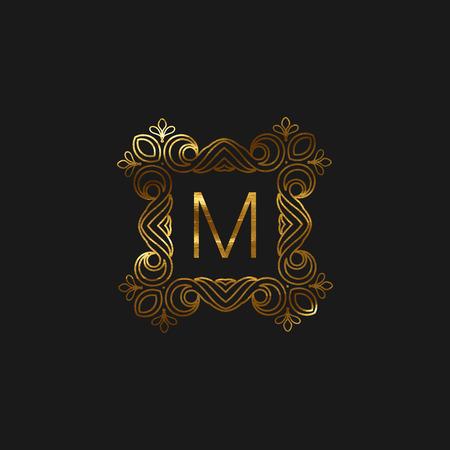 Vector floral monogram frame. Art-deco golden frame with paint texture. Line art element for design