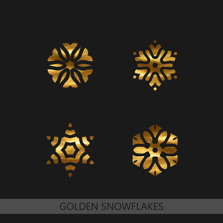 decoration elements: Golden Textured Snowflakes. Vector Winter Illustration of Golden Painted Snowflakes. Decoration Elements for Design