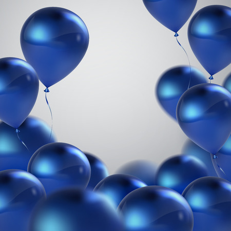 Ilustración vectorial festiva de volar realistas globos brillantes. globos de cumpleaños azules. Elemento decorativo para el diseño 3D invitación del partido