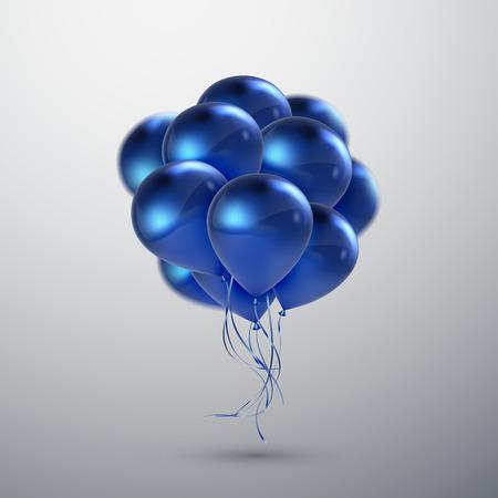 Ilustración vectorial festiva de volar realistas globos brillantes. Azul blanco globo de cumpleaños. Elemento decorativo para el diseño 3D invitación del partido Ilustración de vector