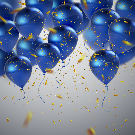 Blue balloons and golden confetti. Vector festive illustration of flying realistic glossy balloons and shiny glittering confetti. Decoration 3D element for party invitation design