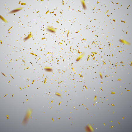Golden Confetti. Vector Festive Illustration of Falling Shiny Confetti. Holiday Decorative Tinsel Element for Design