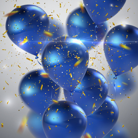 Blue balloons and golden confetti. Vector festive illustration of flying realistic glossy balloon bunch and shiny golden confetti. Decoration 3D element for birthday party invitation design