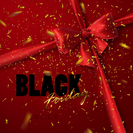 applicable: Black Friday sale banner design template. Vector illustration of Black Friday sign with red silk bow, ribbon and golden confetti. Applicable for flyer, poster, banner