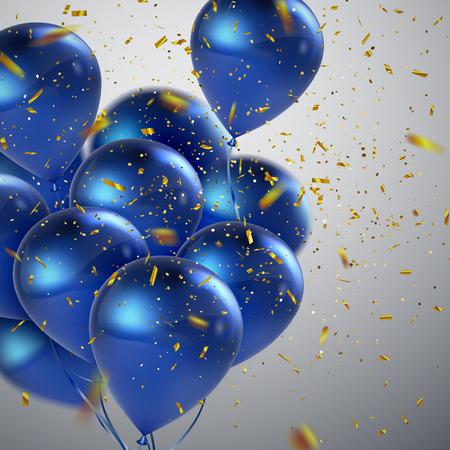 Blaue Luftballons und goldene Konfetti. Vector festliche Illustration des Fliegens von realistischen glatten Ballonen und von glänzenden Konfettis. Element der Dekoration 3D für Parteieinladungsdesign