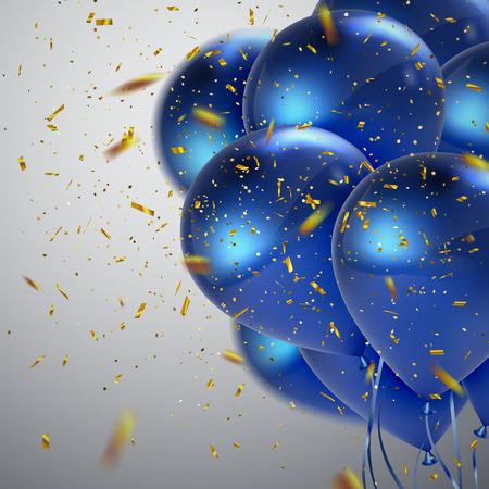 Blaue Luftballons und goldener Konfetti. Vector festliche Illustration der realistischen glänzende Ballons und glänzend Konfetti fliegen. Dekoration 3D-Element für Party Einladungsentwurf Vektorgrafik