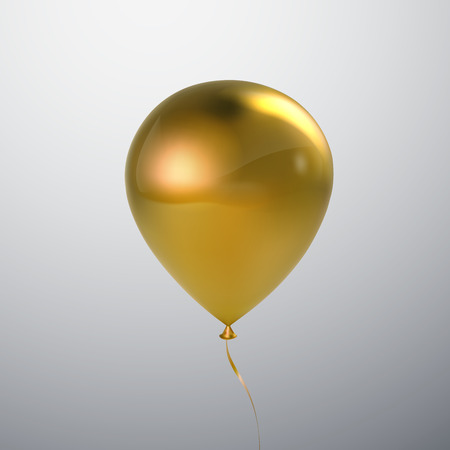 Vector festive illustration of flying realistic glossy golden balloon