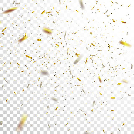 Golden and Silver Confetti. Vector Festive Illustration of Falling Shiny Confetti Glitters Isolated on Transparent Checkered Background. Holiday Decorative Tinsel Element for Design