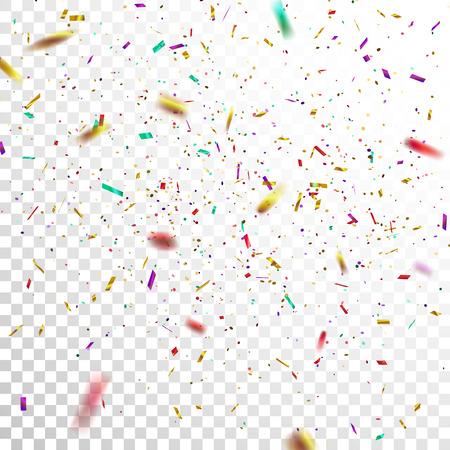 화려한 황금 색종이입니다. 벡터 투명 한 체크 무늬 배경에 고립 떨어지는 반짝이 색종이의 축제 그림. 디자인을위한 휴일 장식 틴 셀 요소 일러스트