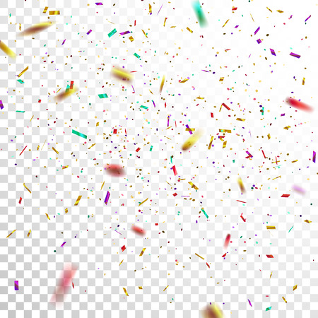 illustration isolated: Colorful Golden Confetti. Vector Festive Illustration of Falling Shiny Confetti Isolated on Transparent Checkered Background. Holiday Decorative Tinsel Element for Design Illustration