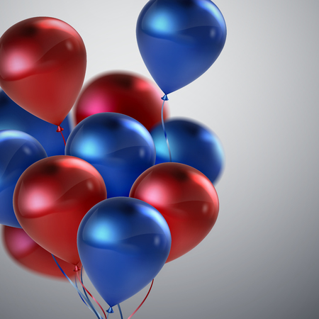 wedding feast: Red And Blue Balloon Bunch. Vector Holiday Illustration Of Flying Red And Blue Balloons. Birthday Or Other Holiday Event Decoration Element