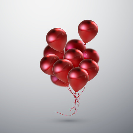 Vector festive illustration of flying realistic glossy balloons. Red balloon bunch. Decoration element for holiday event invitation design. Applicable for banner, poster, flyer, greeting cards  イラスト・ベクター素材