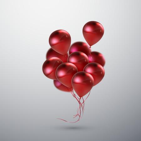 feestelijk: Vector feestelijke illustratie van het vliegen realistisch glanzende ballonnen. Rode ballon bos. Decoratie element voor uitnodiging vakantie event design. Toepasselijk voor banner, poster, flyer, wenskaarten