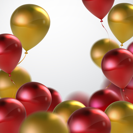 applicable: Vector festive illustration of flying realistic glossy balloons. Red and golden balloon bunch. Decoration element for holiday event invitation design. Applicable for banner, poster, flyer, cards Illustration