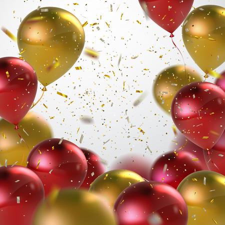 Rode en gouden ballonnen met Holiday Confetti. Vector Holiday illustratie van vliegende rode en gouden ballonnen met Confetti Glitters. Award Ceremony of andere vakantie Event Decoration Element Stock Illustratie