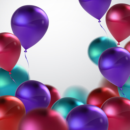 applicable: Vector festive illustration of flying realistic glossy balloons. Violet, turquoise, pink and red birthday balloons. Applicable for banner, poster, flyer, greeting card Illustration