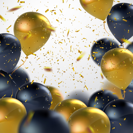 Black And Golden Balloons With Holiday Confetti. Vector Holiday Illustration Of Flying Black And Golden Balloons With Confetti Glitters. Award Ceremony Or Other Holiday Event Decoration Element Illustration