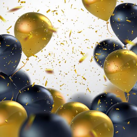 Zwarte En Gouden ballonnen met Holiday Confetti. Vector Holiday illustratie van vliegende Zwarte En Gouden ballonnen met Confetti Glitters. Award Ceremony of andere vakantie Event Decoration Element Vector Illustratie