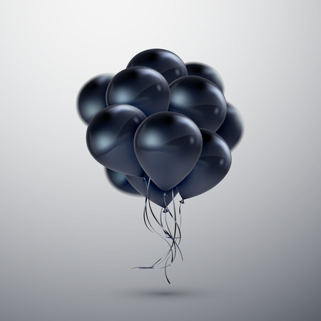 Vector festive illustration of flying realistic glossy balloons. Black balloon bunch. Decoration element for holiday event invitation design. Applicable for banner, poster, flyer, greeting cards Иллюстрация
