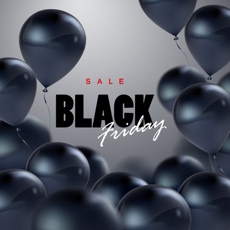 Black Friday Sale. Vector illustration of flying realistic glossy black balloons and Black Friday Sale sign