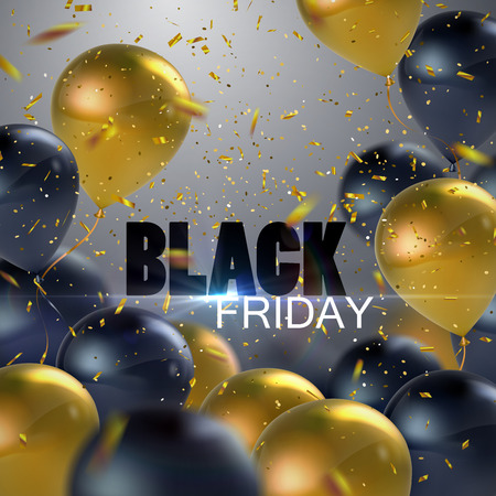 bargains: Black Friday Sale. Vector illustration of flying realistic glossy black and golden balloons, confetti glitters and Black Friday Sale sign Illustration