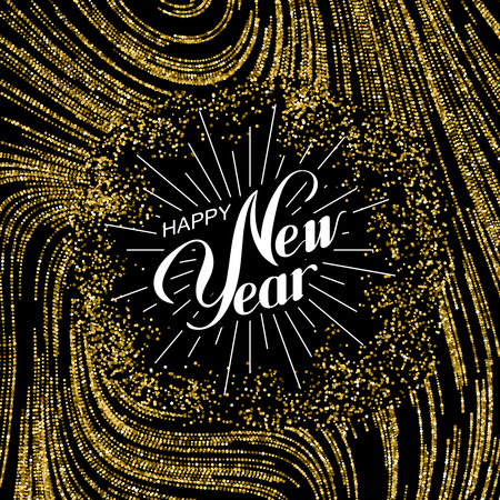 Happy New Year. Holiday Illustration. Lettering Composition With Golden Glitters