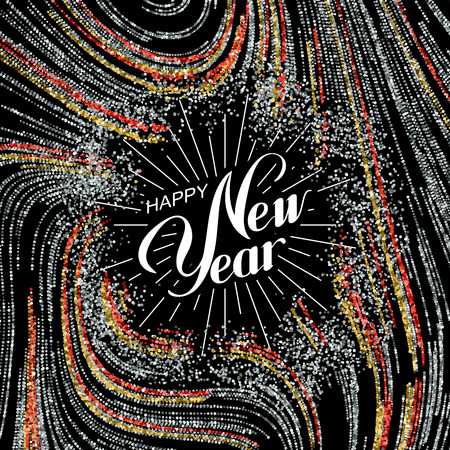 Happy New Year. Holiday Illustration. Lettering Composition With Golden, Silver And Red Glitters