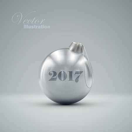knickknack: Christmas ball. Holiday illustration of traditional festive Xmas bauble. Merry Christmas and Happy New 2017 Year greeting card design element.