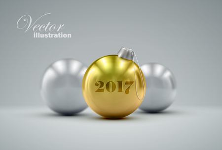 Christmas balls. Holiday illustration of traditional festive Happy New Year baubles. Merry Christmas and Happy New 2017 Year greeting card design element.