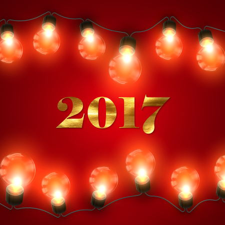 holiday garland: Happy New 2017 Year. Christmas Lights. Holiday Illustration of Luminous Electric Garland Of Light Bulbs And 2017 Label With Golden Paint Texture.