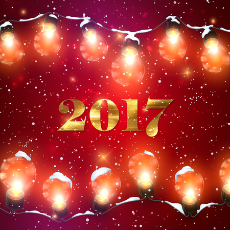 holiday garland: Happy New 2017 Year. Christmas Lights. Holiday Illustration of Luminous Electric Garland, Snow And 2017 Label With Golden Paint Texture. Shiny light Bulbs And Sparkles