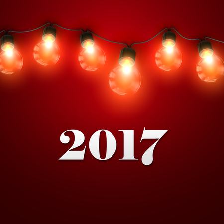 holiday garland: Happy New 2017 Year. Christmas Lights. Holiday Illustration of Luminous Electric Garland And 2017 Label. Shiny Christmas Light Bulbs Illustration