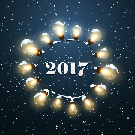holiday garland: Happy New 2017 Year. Christmas Lights. Holiday Illustration of Luminous Electric Garland, Snow And 2017 Label. Shiny Christmas Light Bulbs Wreath And Snow