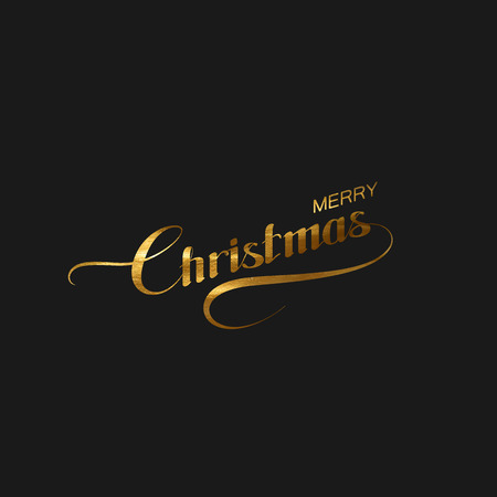 swash: Merry Christmas. Holiday Illustration. Lettering Composition With Merry Christmas Label And Golden Paint Texture Illustration