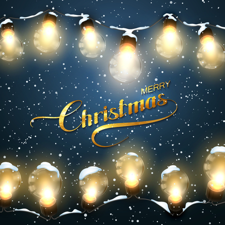 holiday garland: Merry Christmas. Christmas Lights With Snow. Holiday Illustration of Luminous Electric Garland of Light Bulbs and Golden Merry Christmas Label
