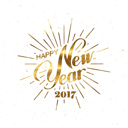 Happy New 2017 Year. Holiday Illustration With Lettering Composition And Burst. Golden Textured Happy New Year Label