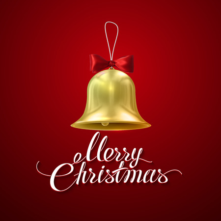 resonate: Merry Christmas. Golden Christmas Bell. Holiday Illustration Of Golden Bell With Red Bow And Merry Christmas Lettering Illustration