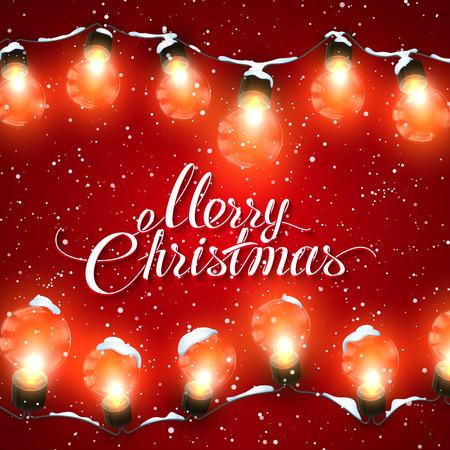 Weihnachtsbeleuchtung Glühlampen.Fröhliche Weihnachten Weihnachtsbeleuchtung Feiertags Illustration